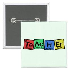 Square Button with Teacher design