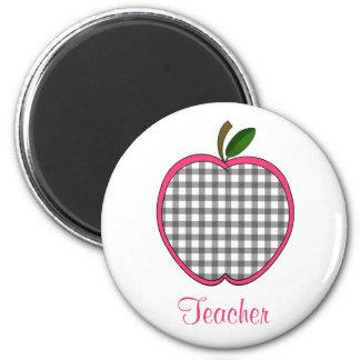 Teacher Magnet - Charcoal Gray Gingham Apple