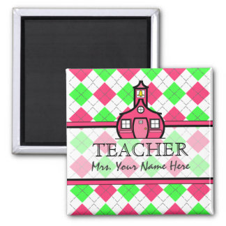 Teacher Magnet - Hot Pink & Lime Green Argyle