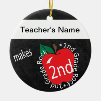 Teacher Makes 2nd Grade Rock Personalize Ornament Round Ceramic Ornament