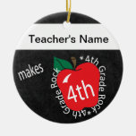 Teacher Makes 4th Grade Rock | Chalkboard Double-Sided Ceramic Round Christmas Ornament