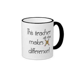 Teacher Makes a Difference T-shirts and Gifts Ringer Coffee Mug