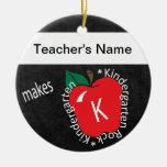 Teacher Makes Kindergarten Rocks | Chalkboard Double-Sided Ceramic Round Christmas Ornament