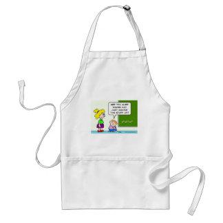 teacher making algebra up in school adult apron