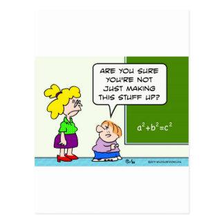 teacher making algebra up in school postcard