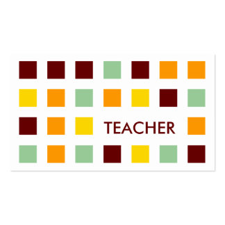 TEACHER (mod squares) Double-Sided Standard Business Cards (Pack Of 100)