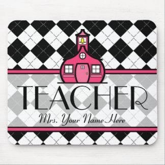 Teacher Mousepad - Black and White Argyle