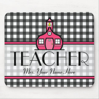 Teacher Mousepad - Charcoal Gray Gingham