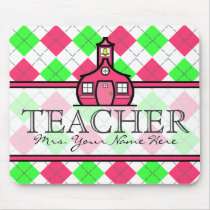Teacher Mousepad - Hot Pink and Lime Green Argyle