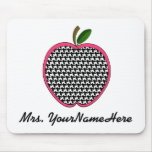 Teacher Mousepad-Houndstooth Apple With Pink Trim