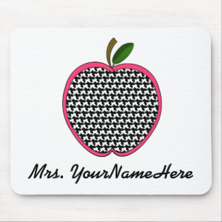 Teacher Mousepad-Houndstooth Apple With Pink Trim Mouse Pad