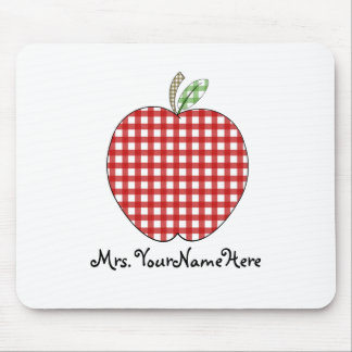 Teacher Mousepad - Red Gingham Apple