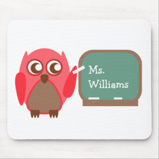 Teacher Mousepad - Red Owl At Chalkboard