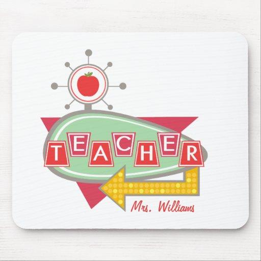 Teacher Mousepad - Retro 60's Inspired Sign