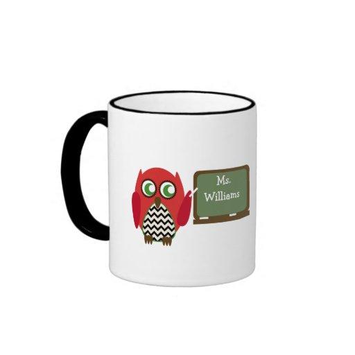 Teacher Mug - Black Chevron Red Owl at Chalkboard