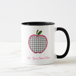 Teacher Mug - Charcoal Gingham Apple