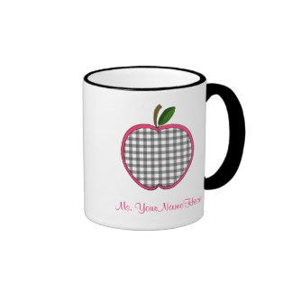 Teacher Mug - Charcoal Gingham Apple