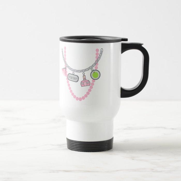 Teacher Mug - Charm Necklace & Pink Pearls