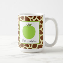 Teacher Mug Green Apple Giraffe Print