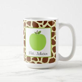 Teacher Mug Green Apple Giraffe Print