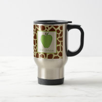 Teacher Mug Green Apple & Giraffe Print