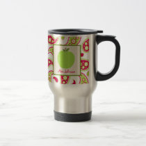 Teacher Mug Green Apple Pink & Green Paisley
