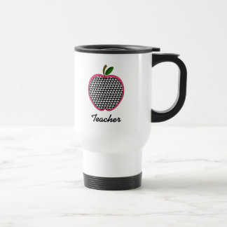 Teacher Mug- Houndstooth Apple With Pink Trim Travel Mug