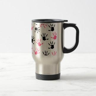 Teacher Mug - Pink & Black Handprints