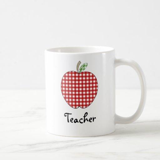 Teacher Mug - Red Gingham Apple