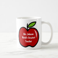 Teacher mug with red apple | Personalizable design