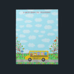 """Teacher Name Classroom Notes   Cute Animals on Bus<br><div class=""""desc"""">Write your classroom notes in style with this cute, personalized school bus design for teachers. This design is perfect for an elementary or preschool class. It shows a bunch of cuddly animals riding the school bus. The bear is driving, the fox is writing in its notebook, the owl is staring...</div>"""