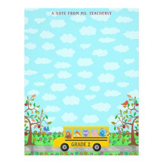 Teacher Name Classroom Notes | Cute Animals on Bus Letterhead