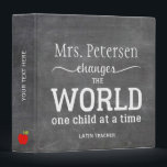 """Teacher name white script quote chalkboard 3 ring binder<br><div class=""""desc"""">Teacher personalized binder with red apples and white typography script quote inspired from &quot;Teachers change the world one child at a time&quot; on blackboard background. Personalize it with your best teacher&#39;s name and make it a thoughtful keepsake gift for her/him to express your gratitude!</div>"""