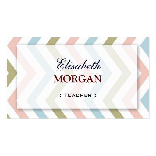 Teacher - Natural Graceful Chevron Business Card Template