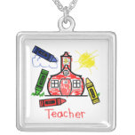 Teacher Necklace - Schoolhouse Crayon Drawing