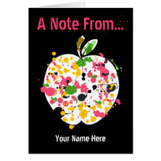 Teacher Notecard - Paint Splatter Apple Stationery Note Card
