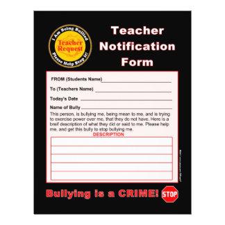 Teacher Notification Form For Bullying Flyer
