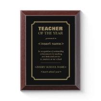 Teacher of the Year Award Plaque