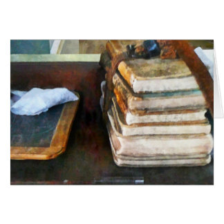 Teacher - Old School Books and Slate Greeting Cards