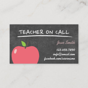 teacher on call cute apple chalkboard business card - Teacher Business Cards