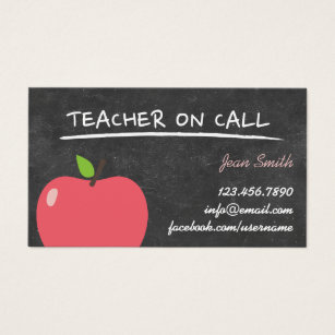 Apple business cards templates zazzle teacher on call cute apple chalkboard business card colourmoves