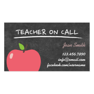 Teacher on Call Cute Apple Chalkboard Double-Sided Standard Business Cards (Pack Of 100)