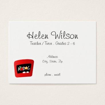 Beach Themed Teacher or Tutor With ABC Apple Business Card
