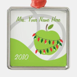 Teacher Ornament - Green Apple & Christmas Lights
