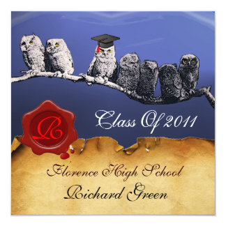 TEACHER OWL GRADUATION PARCHMENT WAX SEAL MONOGRAM CARD