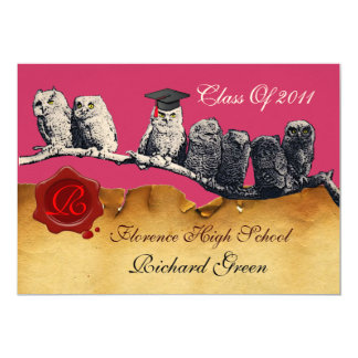 TEACHER OWL GRADUATION PARCHMENT WAX SEAL MONOGRAM CARD