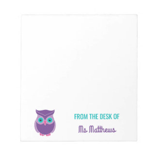 Teacher Personalized Cute Purple Owl From The Desk Notepad
