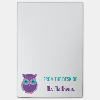 Teacher Personalized Cute Purple Owl From The Desk Post-it Notes