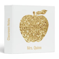 Teacher Personalized Faux Sequin Gold Apple Glam 3 Ring Binder