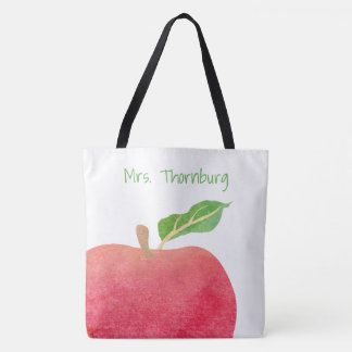 Teacher Personalized Red Watercolor Apple Teachers Tote Bag